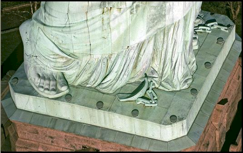 Chains at the feet of Liberty
